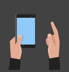 Hand holding phone and touch smartphone screen vector