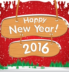 Happy New Year 2016 The white snow and gree vector image