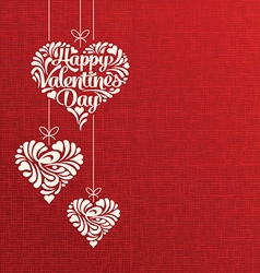 Happy Valentines Day hanging hearts vector image vector image
