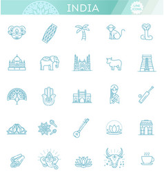 india icons set indian attractions line design vector image