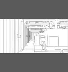 industrial equipment wire-frame 3d render vector image vector image