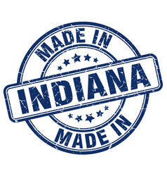Made in indiana blue grunge round stamp vector