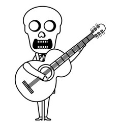 Mexican mariachi skull character with guitar vector