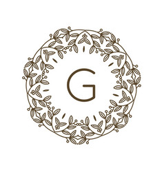 monogram g logo and text badge emblem line art vector image