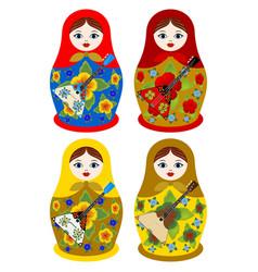 Nesting dolls with a balalaika vector