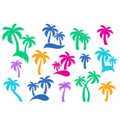 palm tree silhouette icons vector image