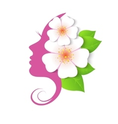 profile of woman with flowers vector image