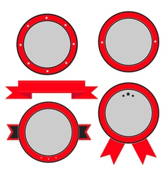 Red badge and label set with ribbon and stars vector image