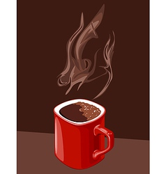 red cup of coffee with aroma of ascending vector image