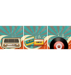 Retro background design with old radio and vector image vector image