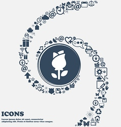 Rose icon in the center around the many beautiful vector