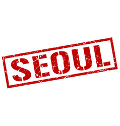 Seoul red square stamp vector