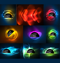 set of glowing neon light effects digital vector image
