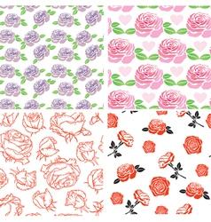 Set rose pattern vector