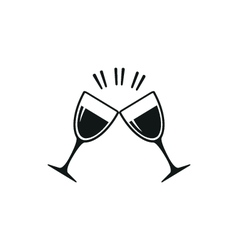 Simple black two clink glasses icon on white vector