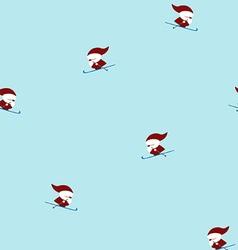 Skiing santas seamless pattern vector