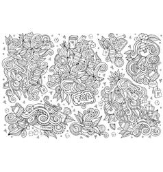 Tea time doodles hand drawn sketchy symbols vector image