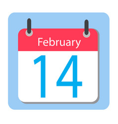 valentines day flat calendar icon february 14 vector image vector image