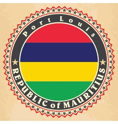 Vintage label cards of mauritius flag vector