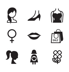Woman symbol icon set vector