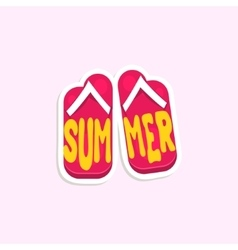 Flip-flops bright color summer inspired sticker vector
