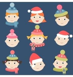 Kids with winter clothing vector image