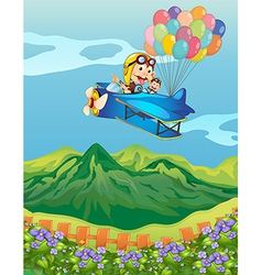 Monkeys on a plane with balloons vector image