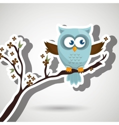 Owl blue tree leaves blue vector