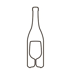 Contour bottle wine and goblet vector
