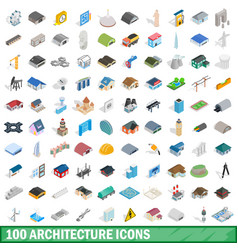 100 architecture icons set isometric 3d style vector