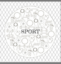 Circular concept of sport equipment background vector