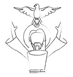 Jesus christ holy spirit devotion sacrifice skecth vector