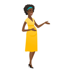 Young african-american pregnant woman gesturing vector
