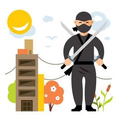 Ninja flat style colorful cartoon vector