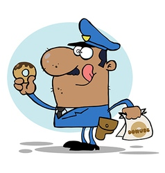 Cartoon police officer with donut vector