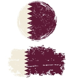 Qatari round and square grunge flags vector