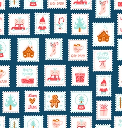 Winter holidays decorative post stamps seamless vector