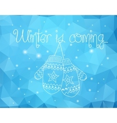 Mittens on winter sparkles abstract background vector