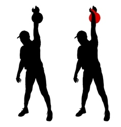 Silhouette muscular man holding kettle bell vector