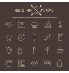Food and drink icon set vector