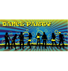 Dance party ticket blue vector