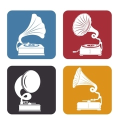 gramophones set isolated icon design vector image