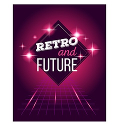 Retro disco 80s neon with text retro and vector