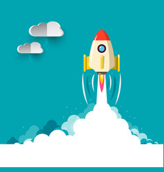 Business rocketship startup symbol flat design of vector