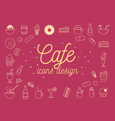 cafe icons design set vector image