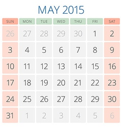 Calendar 2015 may design template vector