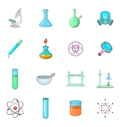 Chemical lab icons set cartoon style vector