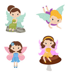 collection of beautiful fairies collection of vector image