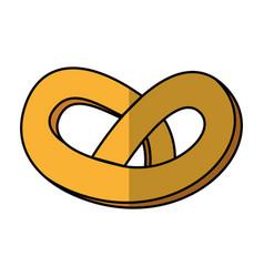 Delicious pretzel bakery product vector
