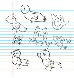 drawings animal bird on paper vector image vector image